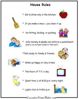 Sample house rules google search kids discipline for House rules chart template