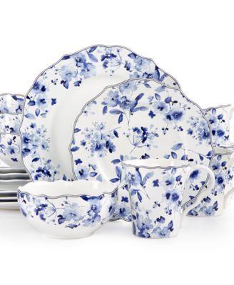 222 Fifth 16-Pc. Sydney Blue Dinnerware Set | macys.com