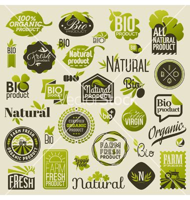 Natural organic product labels and emblems vector 1785589 - by ussr on VectorStock®