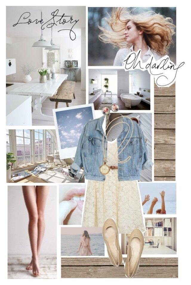 """""""La costruzione di un amore.."""" by enyate96 ❤ liked on Polyvore featuring Off-White, H&M, Alexander McQueen, jean jackets, white jeans, lace dresses, ballet flats, acid wash jeans, white lace dresses and floral print"""