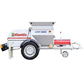 Atlantic Worm Pump AWP 10000 is a high volume screw pump delivering an output of 10 m3/hr and is driven by a 10 HP (7.5 kW) electric motor. With a special Rotor Stator at its heart, the machine is ideal for pumping liquid screed, grout and mortar with grain size up to 10 mm.