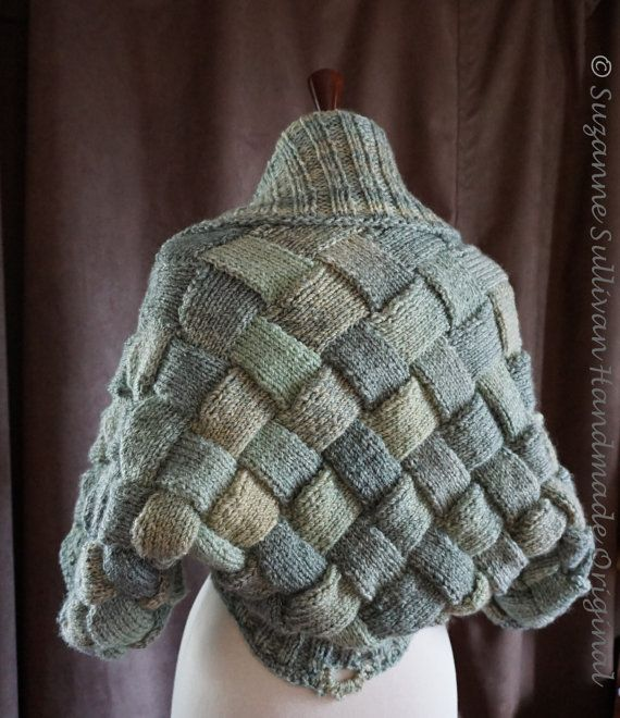 Basket Weave Shrug Sweater Womans Entrelac by SuzanneSullivan