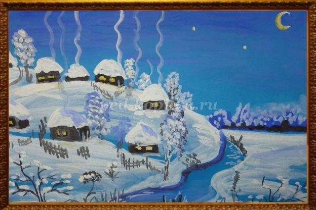 Рисование зимнего пейзажа гуашью поэтапно в подготовительной группе