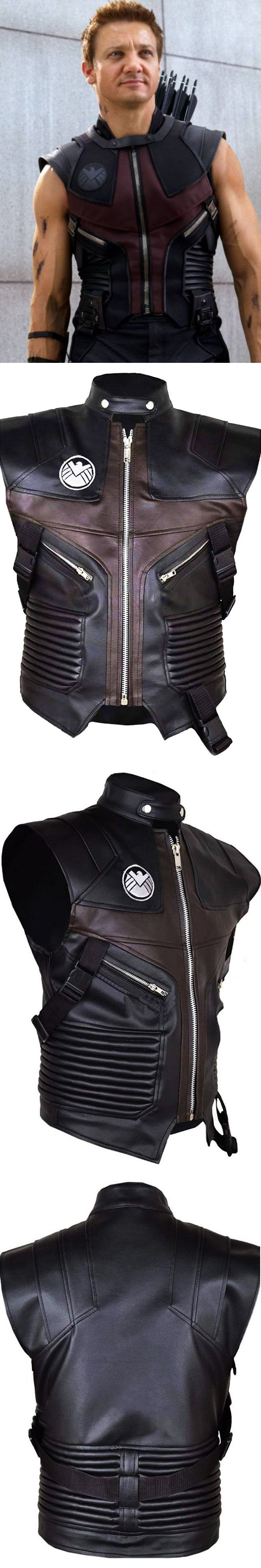 """From Hollywood Blockbuster Movie """"The Avengers(2012)"""" Zaan Leathers Created Jeremy Renner The Avengers Hawkeye Leather Vest for Men. Made From Soft Synthetic Leather. Jeremy Renner Worn This Stylish Vest in Movie as Character Clint Barton / Hawkeye. Available at (Zaan Leathers)Our Online Store in Reasonable Price. #JeremyRenner #TheAvengers #Hawkeye #fans #boysfashion #boyscollection #menfashion #shopping #stylish #costume #menclothing #menJackets #superhotfashion #menswear"""