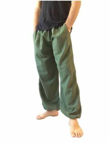 Men's Green Cotton Baggy Hippie One Size Pants