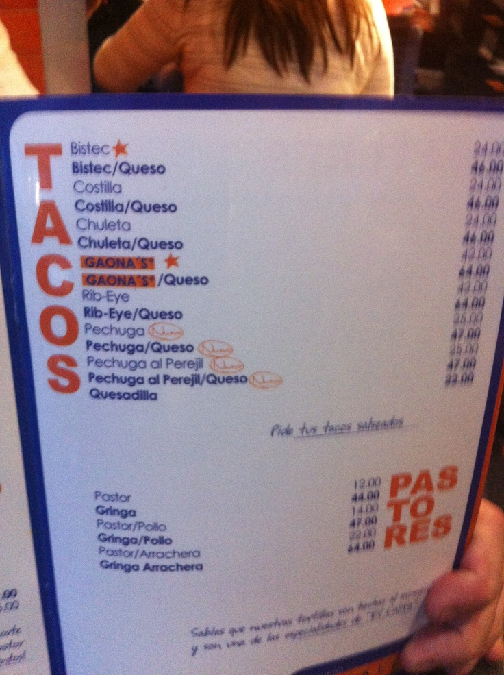 Menu at El Califa - the tacos al pastor and arrachera were amazing