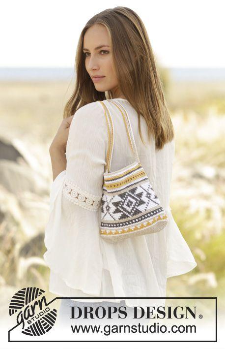 Folk Dance bag with multicoloured pattern by DROPS Design Free Crochet Pattern