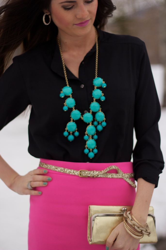 Turquoise & Hot PinkTurquoise Necklaces, Colors Combos, Statement Necklaces, Hot Pink, Pencil Skirts, Work Outfit, Bubbles Necklaces, Bright Colors, Pink Black