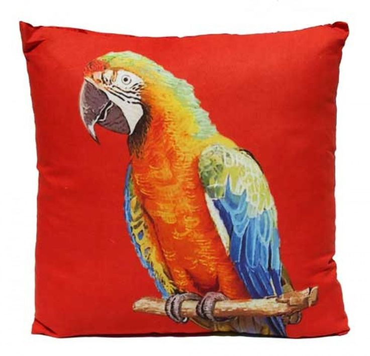 Red Parrot Cushion PLUS Insert - 45cm x 45cm - Tropical Hawaiian Beach Style