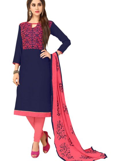 1d4dbbfe5 Blue Georgette Embroidered Semi Stitched Anarkali Suit in 2019 ...