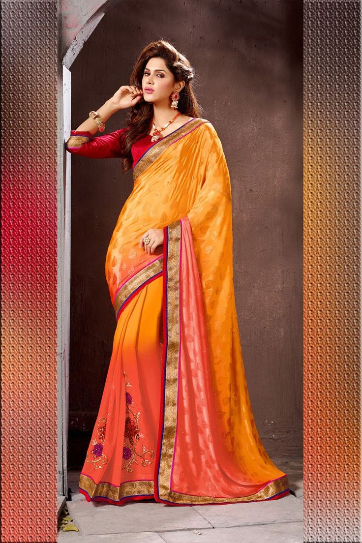 Buy Orange Georgette Designer Saree Online in low price at Variation. Huge collection of Designer Sarees for Wedding. #designer #designersarees #sarees #onlineshopping #latest #lowprice #variation. To see more - https://www.variation.in/collections/designer-sarees.