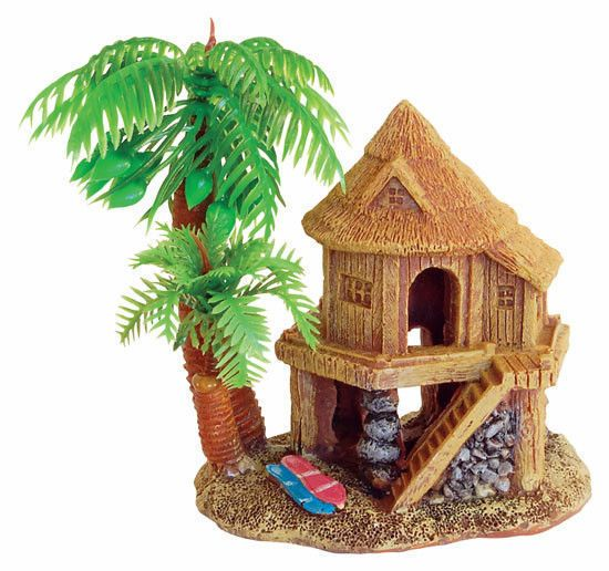 Beach house palm tree aquarium ornament fish tank for Aquarium house decoration