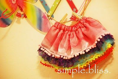 """Simple pettiskirt tutorial """"Rainbow Play Skirt"""" from Simple Bliss.  Must give this a try as there is no need to gather yards and yards of fluff!"""
