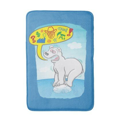 #Polar bear saying bad words standing on tiny ice bath mat - #Bathroom #Accessories #home #living