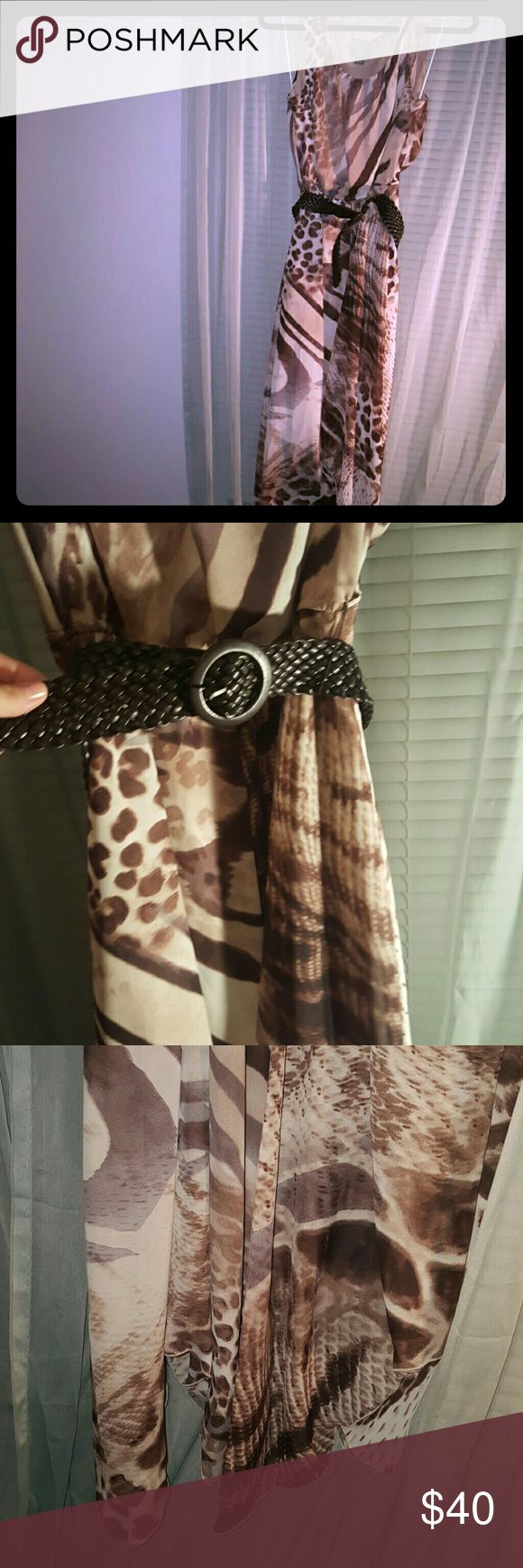 Scoop neck animal print long dress with belt Bottom is mix of high and low there is a tan underlay light weight and so cute match with brown sweater for fall look Rabbit Rabbit Rabbit Dresses High Low