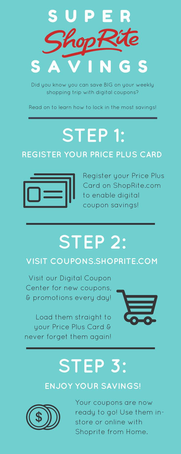 Did you know you can save BIG on your weekly shopping trip with digital coupons? Follow our 3 easy steps before your next visit to ShopRite for serious savings!