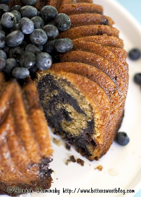 Marbled Blueberry Bundt Cake - And it is vegan!