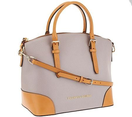Dooney \u0026 Bourke Claremont Leather Domed Satchel in Oyster via @qvc.