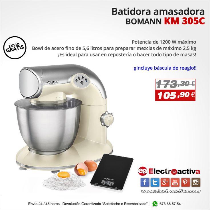¡Es ideal para usar en repostería o hacer todo tipo de masas! Batidora Amasadora BOMANN KM 305C https://www.electroactiva.com/bomann-km-305-batidora-amasadora-1200w-crema.html #Elmejorprecio #Batidora #Amasadora #Reposteria #Postres #Cocina #Electrodomestico