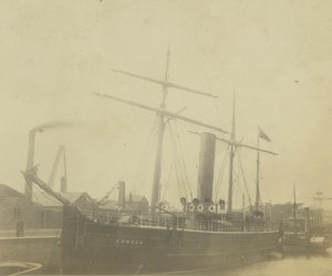 Photograph of the 'Coogee', late nineteenth century (TWAM ref. acc. 5181). The 'Coogee' was originally launched by Joseph L. Thompson & Sons in 1887 as the 'Lancashire Witch'. The 'Coogee' now lies shipwrecked outside Port Philip Bay, Melbourne, Australia and is apparently very popular with divers.