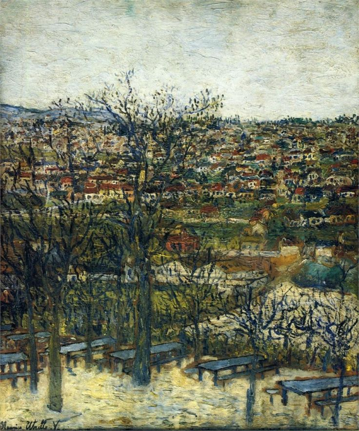 Benches at Montmagny (Val-d'Oise) - Maurice Utrillo