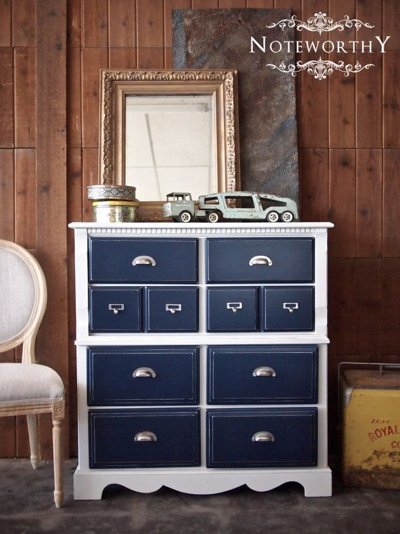 Navy & White Chest of Drawers with Vintage Hardware on Etsy, $350.00