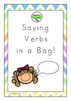 Saying Verbsin a Bag is a resource with a variety of uses to develop and expand vocabulary in reading, writing and speaking. It exposes students to a large variety of ways to say 'said'.This pack contains over 110 saying verb word cards with activity ideas, including accompanying worksheets to support learning.Happy teaching!