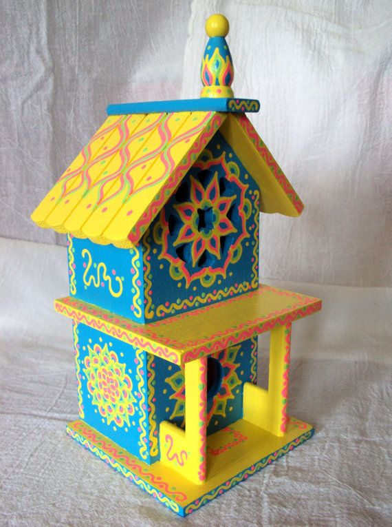Whimsical Handpainted Birdhouse 2 Story Tropical by SingingTrees, $45.00