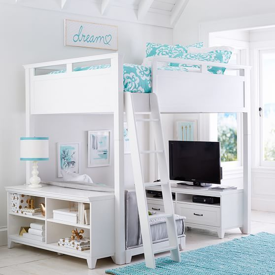 Adorable Full Kids Bedroom Set For Girl Playful Room Huz: Hampton Loft Set With Cushy & Base, Full, Simply White