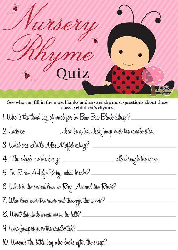 Ladybug Nursery Rhymes Quiz Baby Shower Game by PinkLemonadeTree, $3.00