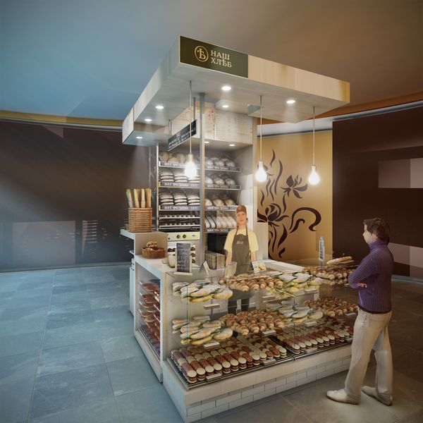 Concept for a Mini Bakery Kiosk In Moscow by Spaceagency , via Behance