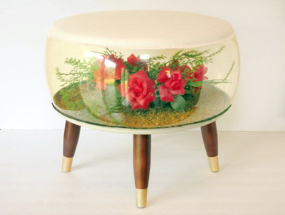 Mid century modern, Footstool, Ottoman, Inflatable Terrarium, Kitsch, Roses, Flowers, Pink and Green, uncommon vintage fun
