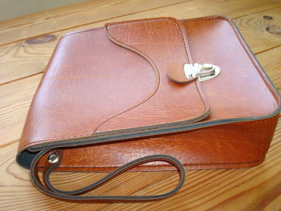 Vintage Soviet Poland Faux Leather Mans Wrist Bag by USSRandENSV, $20.00