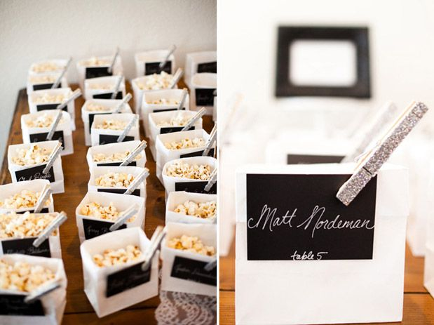 elegant wedding inspiration table place cards and individual treats