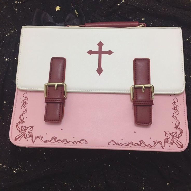 [Reservation] Red/Pink Gothic Lolita Cross 3 Ways Used Handbag Backpack Crossbody Bag SP178856