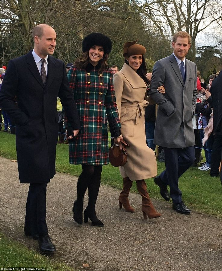25 December 2017 - British Royals attend Christmas Day service at St Mary Magdalene Church - coat by Miu Miu