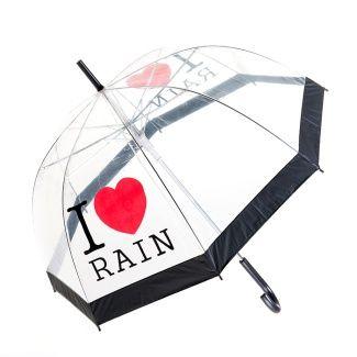 I Love Rain PVC Dome Umbrella