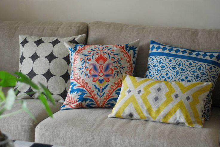 Set Of 4 Nordic Ikat Pillows Covers Scandanavian Throw