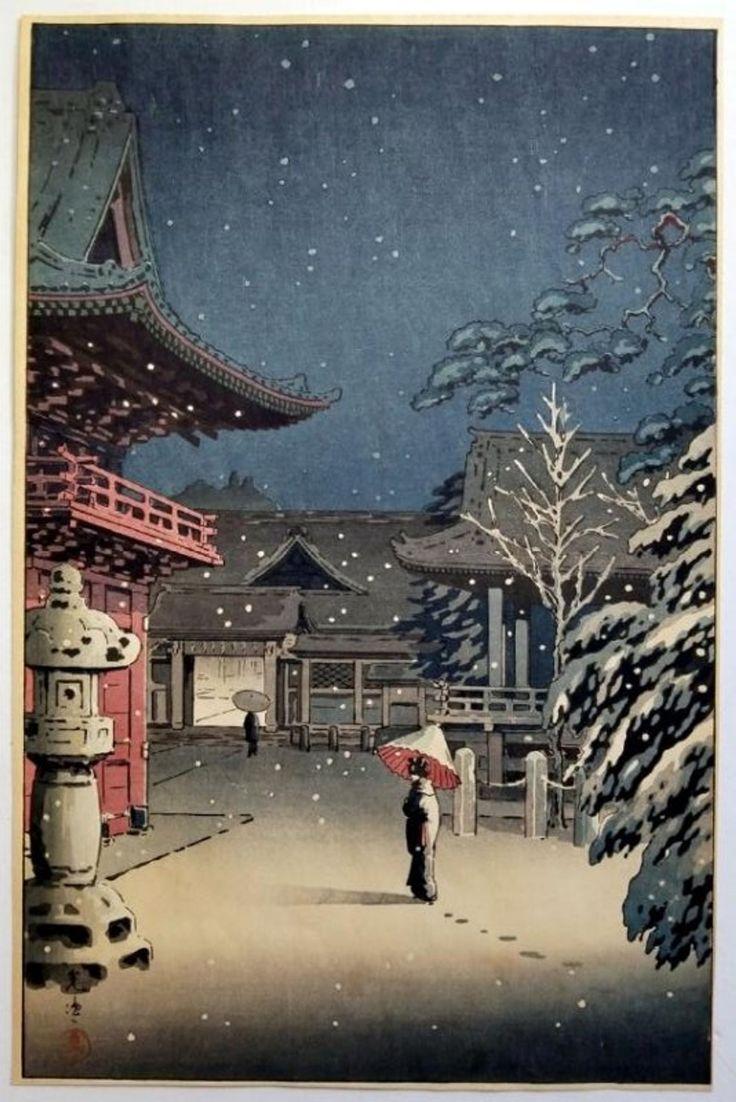 Tsuchiya Koitsu: Snow at Nezu Shrine. 1934 Shin Hanga