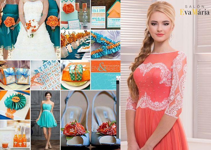 Oranžovotyrkysová svadobná výzdoba - trend 2016