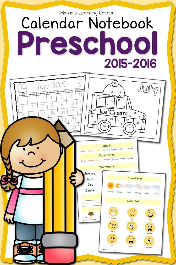 Preschool Calendar Notebook 2015-2016