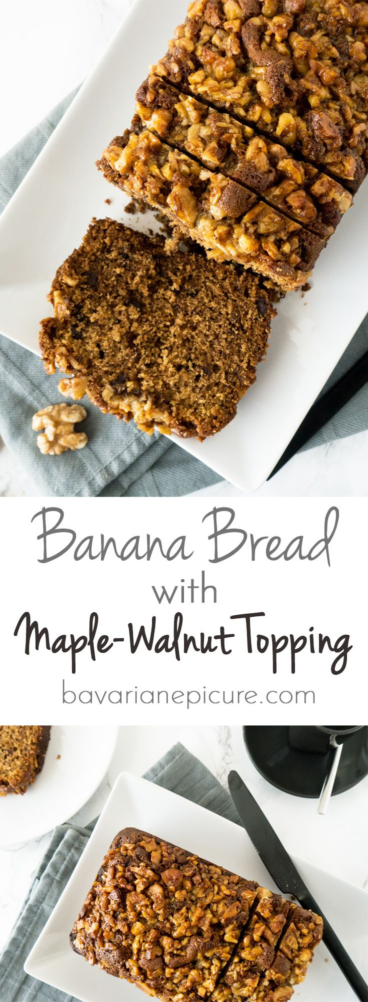 My Banana Bread has a crunchy Maple-Walnut Topping which adds a new twist to my favorite banana bread recipe!