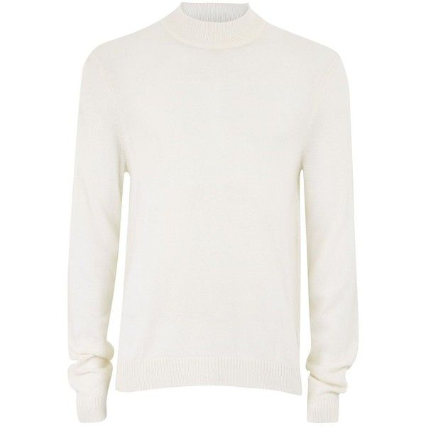 TOPMAN Off White Cashmere Turtle Neck Jumper ($35) ❤ liked on Polyvore featuring men's fashion, men's clothing, men's sweaters, cream, mens slim fit cashmere sweaters, mens cashmere sweaters, mens cream sweater, mens turtleneck sweater and mens slim fit sweaters