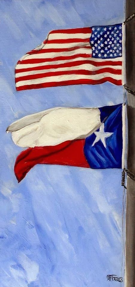 Contemporary Artists of Texas: Pride in the Wind, by Melissa A. Torres, 24x12 acrylic and gel medium on canvas