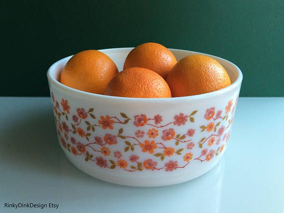 Large retro Arcopal French serving bowl dish / Floral Scania