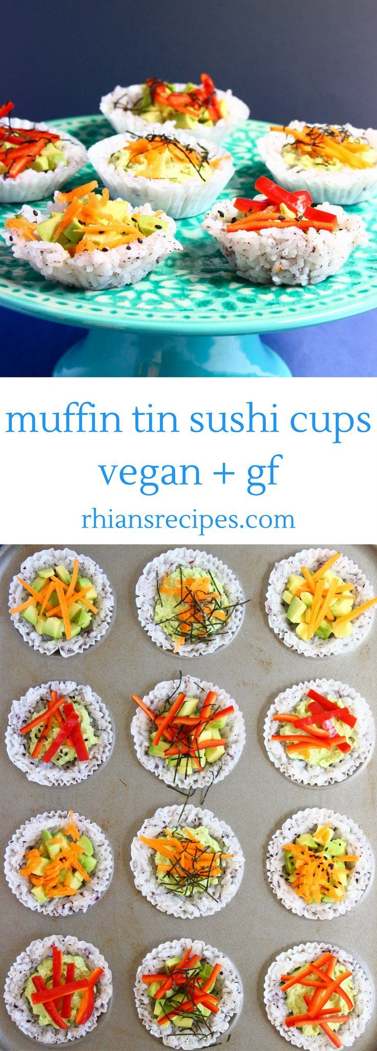These Muffin Tin Sushi Cups are super easy to make, so adorable and full of healthy goodness! Filled with creamy avocado and the most delicious edamame paste. Vegan and gluten-free.