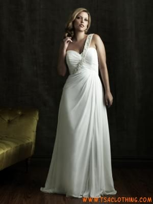 een schouder geliefde A-lijn chiffon jurk