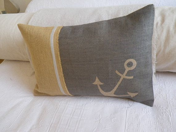Hand printed in Wiltshire. With our home in the country and dreaming of the sea, a very nautical cushion. Our anchor can mean more than the sea Amidst the confusion of the times, the conflicts of conscience, and the turmoil of daily living, an abiding faith becomes an anchor to our lives. On a rustic hessian in a muted grey blue ribbon trim .... A great printed bespoke back takes a 24 x 16 Neither should a ship rely on one small anchor, nor should life rest on a single hope. Epictetus