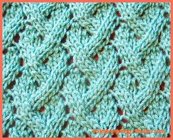 Here is the pattern for Loose Lattice Lace;    Knit on Multiple of 8 stitches + 3.    Noted: Stitches should only be counted after the 5th, 6th, 11th and 12th rows.    Row 1 (right side): K1, *k2tog, k1, yf, k1, sl1, k1, psso, k2; rep from * to last 1 sts, k2.    Row 2 and every alternated row: Purl.    Row 3: *K2tog, k1, [yf, k1] twice, sl1, k1, psso; rep from * to last 3 sts, k3.    Row 5: K2, *yf, k3, yf, k1, sl 1, k1, psso, k1; rep from * to last st, k1.    Row 7: K4, *k2tog, k1, yf, k1…