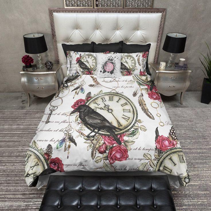 vintage red rose raven clock boho feather duvet bedding sets